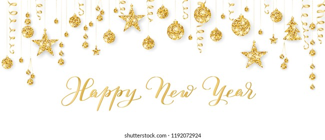 Happy New Year calligraphy. Christmas golden decoration on white. Sparkling glitter ornaments on a string. Hanging balls, trees, stars. Holiday background for cards, banners, headers, party posters.