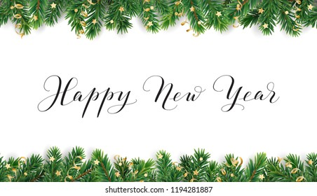Happy New Year calligraphy. Christmas tree frame, seamless garland. Vector decoration on white background. For winter holidays cards, New Year gift tags, banners, headers, Christmas party posters.