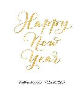 Happy New Year calligraphy isolated on white background. Golden hand drawn text. For winter holidays cards, New Year gift tags, banners, headers, Christmas party posters. Vector illustration.