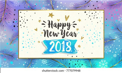 Happy New Year card. 2018. greeting winter banner poster calligraphy. Handwritten lettering on fluorescent background. Trendy Memphis 80's and 90's style template easy editable for Your Design.