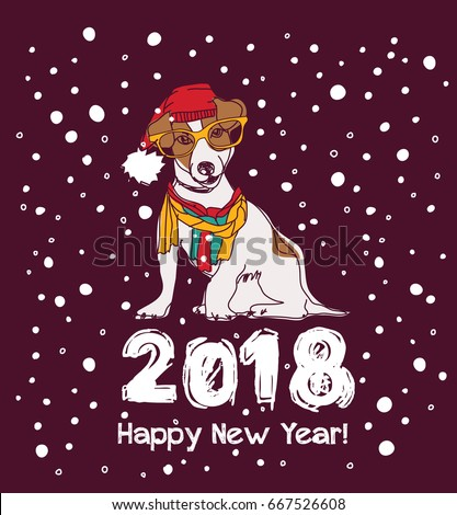 happy new year card 2018 with snow and dog color vector illustration eps8