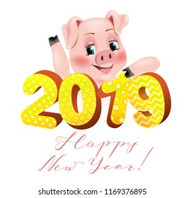 Happy New Year card 2019 with funny pig . Happy New Year, Holiday  greeting card, Vector illustration