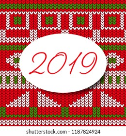 Happy new year card 2019 sweater pattern design