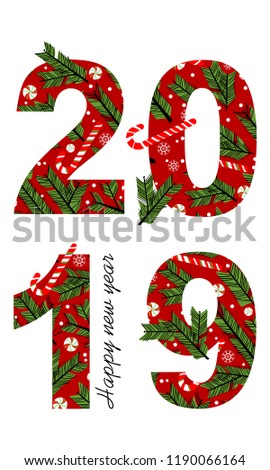 happy new year card for 2019 with main big numbers vector background can be use
