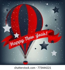Happy New Year card with air balloon Vector illustration