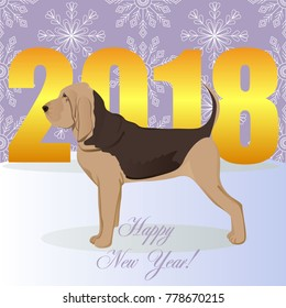 Happy new year card with bloodhound