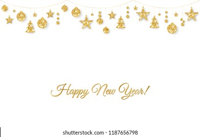 Happy New Year card. Christmas golden decoration on white background. Hanging glitter balls, trees, stars. Winter season sparkling ornaments on a string. Holiday background for party posters, banners