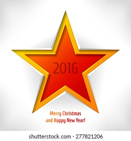 Happy New Year card. Colorful vector star as paper cut. Can be used for web or print design.