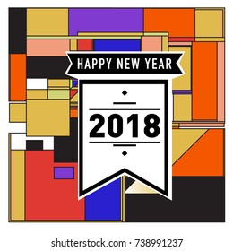 Happy New Year Card with Colorful abstract design. Vector elements for calendar and greeting card.