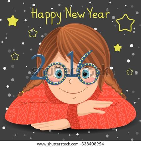 happy new year card cute cartoon girl in funny glasses