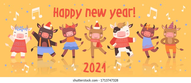 Happy New Year card design with cute little dancing cartoon cattle in colorful party clothes with cows and bulls celebrating the 2021 holiday season and text , vector illustration