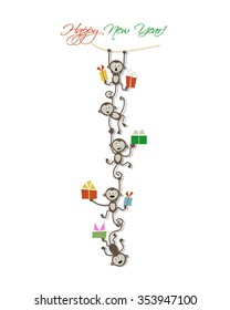 Happy new year card design with funny monkeys. Vector illustration