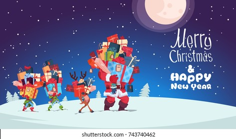 Happy New Year Card With Elves, Reindeer And Santa Carrying Gift Boxes Stacks Over Winter Night Christmas Holiday Presents Concept Vector Illustration