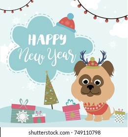 Happy New Year  card with fun animals and winter forest. Vector illustration