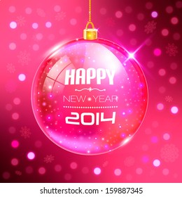 Happy New Year Card with glass ball. Vector illustration