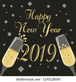 Happy New Year Card with glasses of champagne on black  background