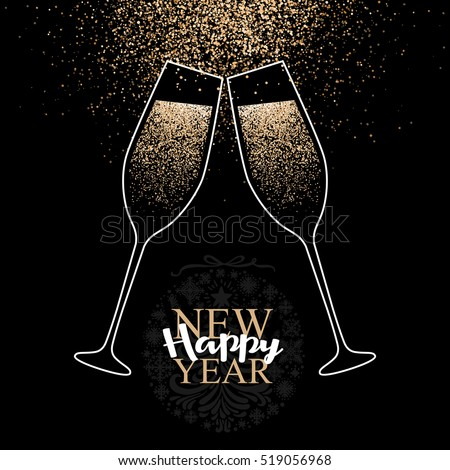 happy new year card with glasses of champagne vector illustration eps 10 format