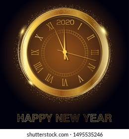 Happy New Year card with gold clock. Vector illustration