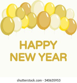 Happy new year card with gold balloons