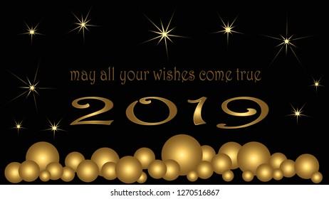 Happy new year card. Golden balls stars 2019 black background.