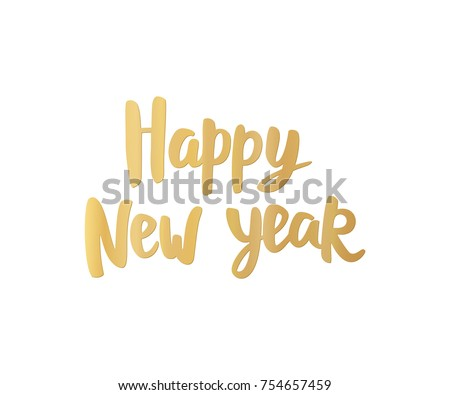 Happy New Year Card Golden Hand Stock Vector (Royalty Free ...
