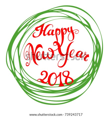 happy new year card with hand drawn creative typography red freehand lettering and green round