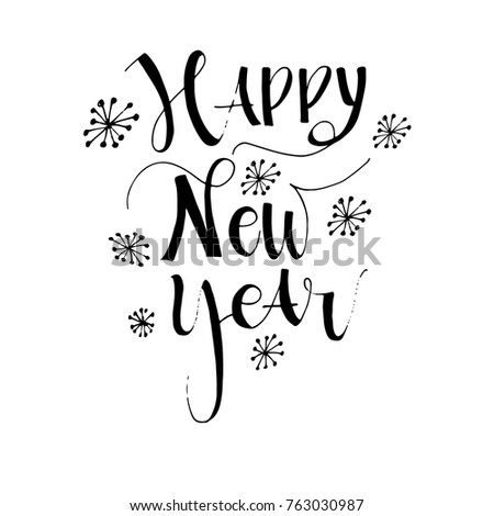Happy New Year Card Hand Drawn Stock Vector (Royalty Free) 763030987 ...