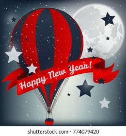 Happy New Year card with hot air balloon Vector illustration