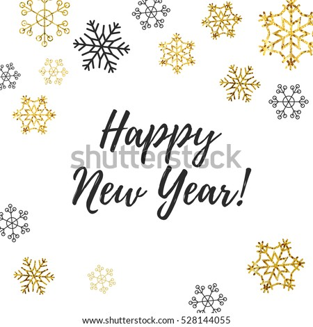 happy new year card lettering with golden and silver snowflakes fallen snow flakes frame