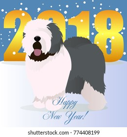 Happy new year card with old english sheepdog