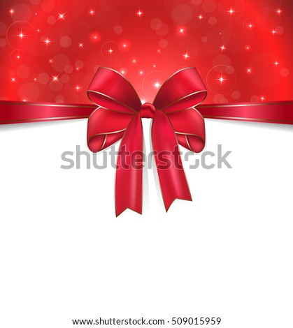 happy new year card on line in red bow and red background vector illustration