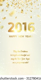 Happy new year card over gray background with golden sparks. Vector illustration.