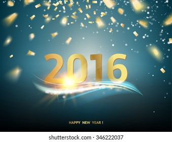 Happy new year card over blue background with golden sparks.