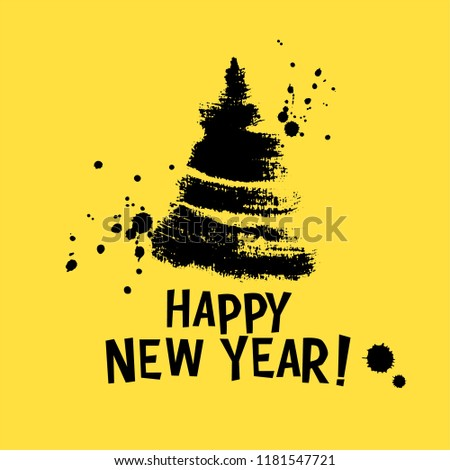 happy new year card print with hand drawn ink christmas tree