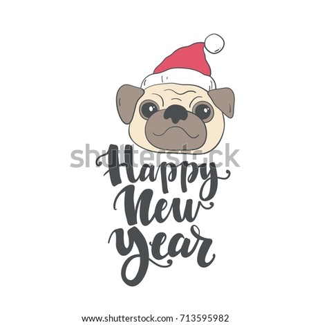 happy new year card print with pug