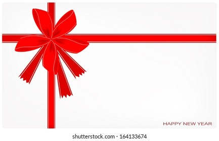 Happy New Year Card with Red Bows and Ribbon, Copy Space for Text Decorated