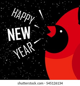 Happy New Year card. Red cardinal on black background with snow. Flat design. Vector