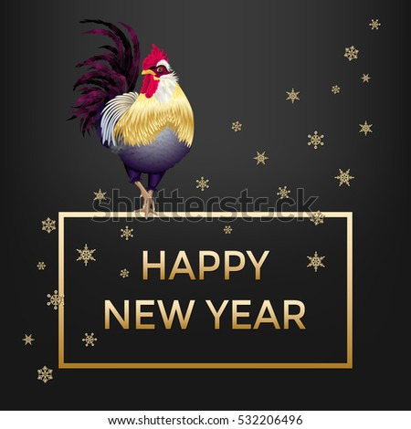 happy new year card with rooster and snowflakes golden cock with dark tail and red