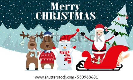 happy new year card santa claus with friends