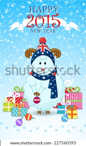 happy new year card with sheep and gifts cute sheep in a cap and scarf