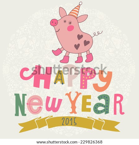 happy new year card with small cartoon little pig in vector