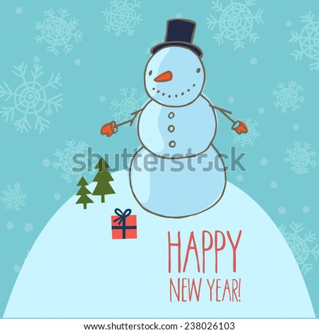 happy new year card with snow man in cute cartoon style