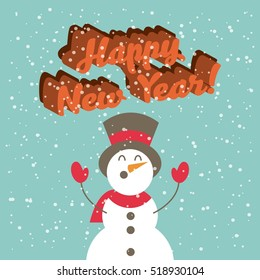 happy new year card with snowman icon. colorful design. vector illustration