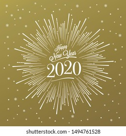Happy New Year Card with Starburst. Vector illustration.