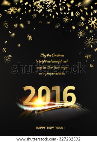 happy new year card template over black background with golden sparks happy new year 2016