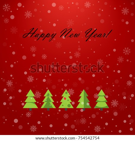 happy new year card vector illustration flat simple style holiday decorative design for
