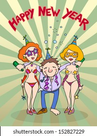 happy new year cartoon happy drunk man in company of two sexy girls party