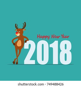 Happy New Year! Cartoon reindeer Rudolph  of Santa Claus. Greeting card 2018. vector illustration