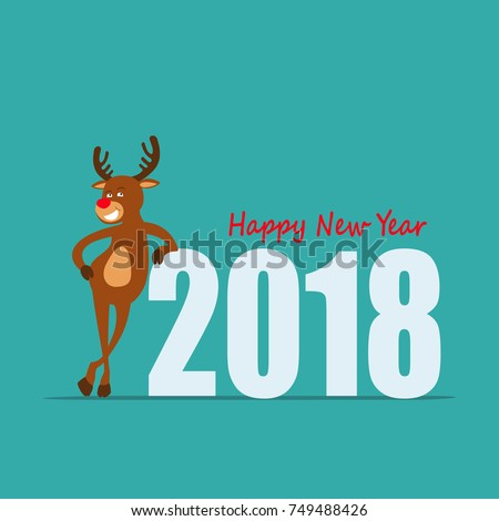 happy new year cartoon reindeer rudolph of santa claus greeting card 2018 vector