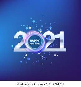 Happy new year celebration 2021 New Year in blue shine postal card. 3D Festive design for Holiday Christmas decoration Vector template